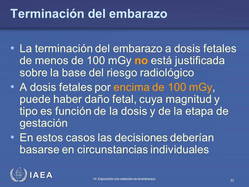 IAEA 14: Exposición a la radiación en el embarazo 33 Terminación del embarazo La terminación del embarazo a dosis fetales de menos de 100 mGy no está