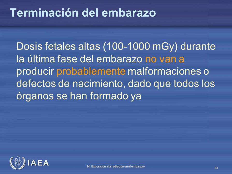 IAEA 14: Exposición a la radiación en el embarazo 34 Terminación del embarazo Dosis fetales altas (100-1000 mGy) durante la última fase del embarazo n