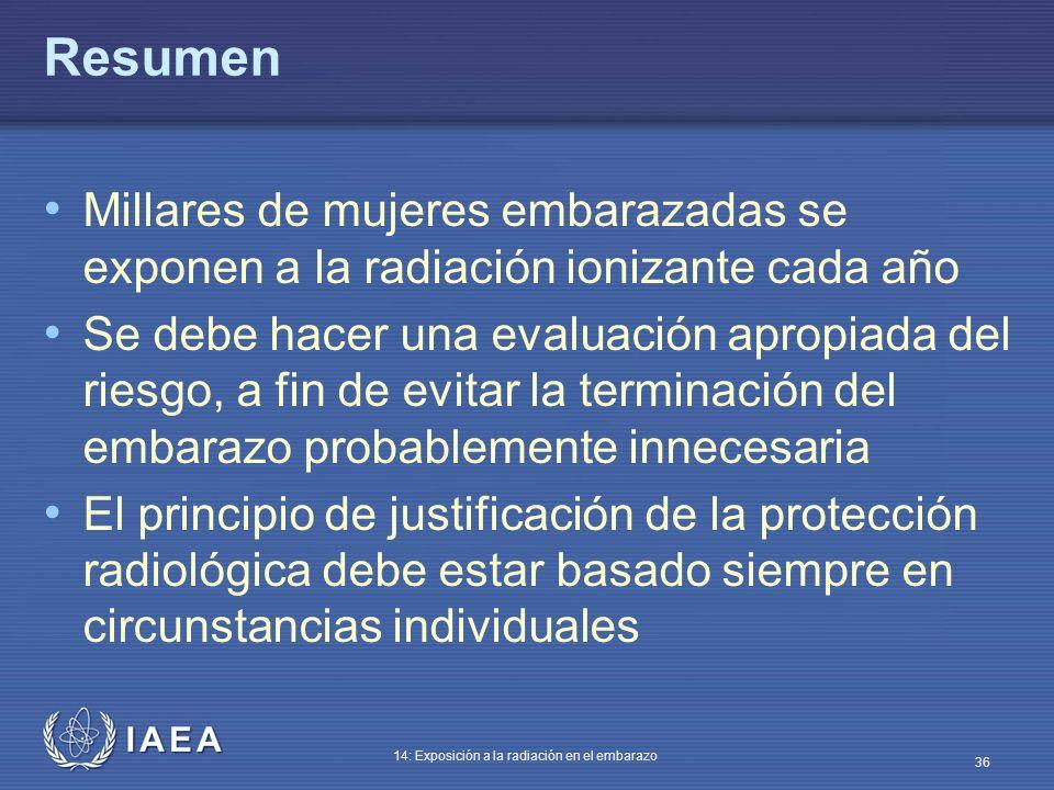 IAEA 14: Exposición a la radiación en el embarazo 36 Resumen Millares de mujeres embarazadas se exponen a la radiación ionizante cada año Se debe hace