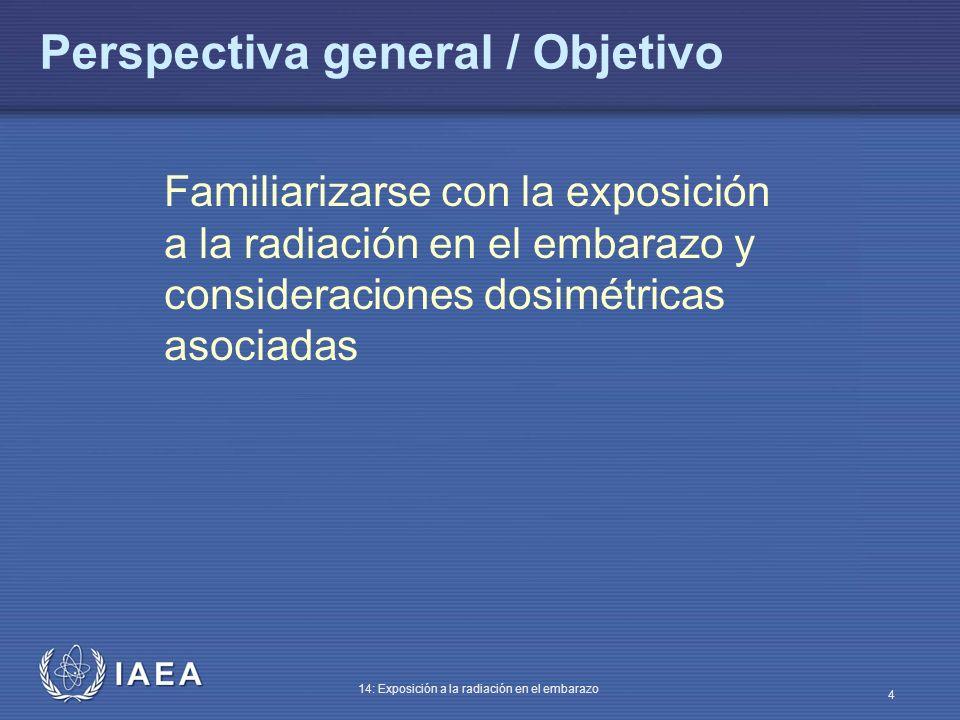 IAEA 14: Exposición a la radiación en el embarazo 35 Riesgos en la población gestante no expuesta a la radiación médica Riesgos: Aborto espontáneo > 15% Incidencia de anomalías genéticas 4-10% Retraso intrauterino de crecimiento 4% Incidencia malformación importante 2-4%