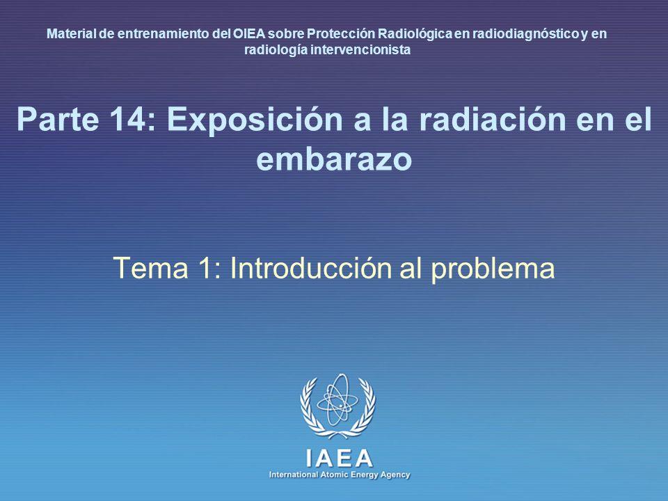 IAEA 14: Exposición a la radiación en el embarazo 6 Introducción En algunas circunstancias, la exposición es inadecuada y el niño no nacido podría estar en un riesgo acrecentado La dosis prenatales de la mayoría de los procedimientos diagnósticos realizados adecuadamente no presentan incremento de riesgo medible de muerte prenatal, malformación, daño mental Dosis más altas tales como las de procedimientos terapéuticos pueden producir daño fetal considerable