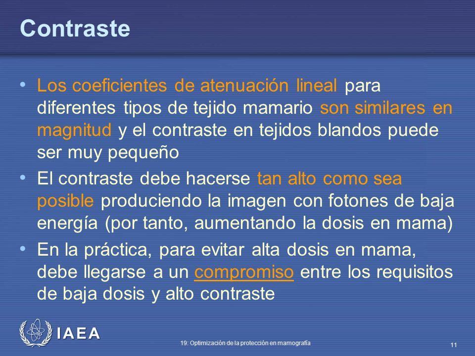 IAEA 19: Optimización de la protección en mamografía 11 Contraste Los coeficientes de atenuación lineal para diferentes tipos de tejido mamario son si