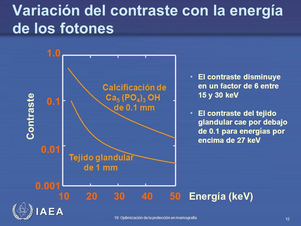 IAEA 19: Optimización de la protección en mamografía 12 Variación del contraste con la energía de los fotones 1.0 0.1 0.01 0.001 10 20 30 40 50 Energí
