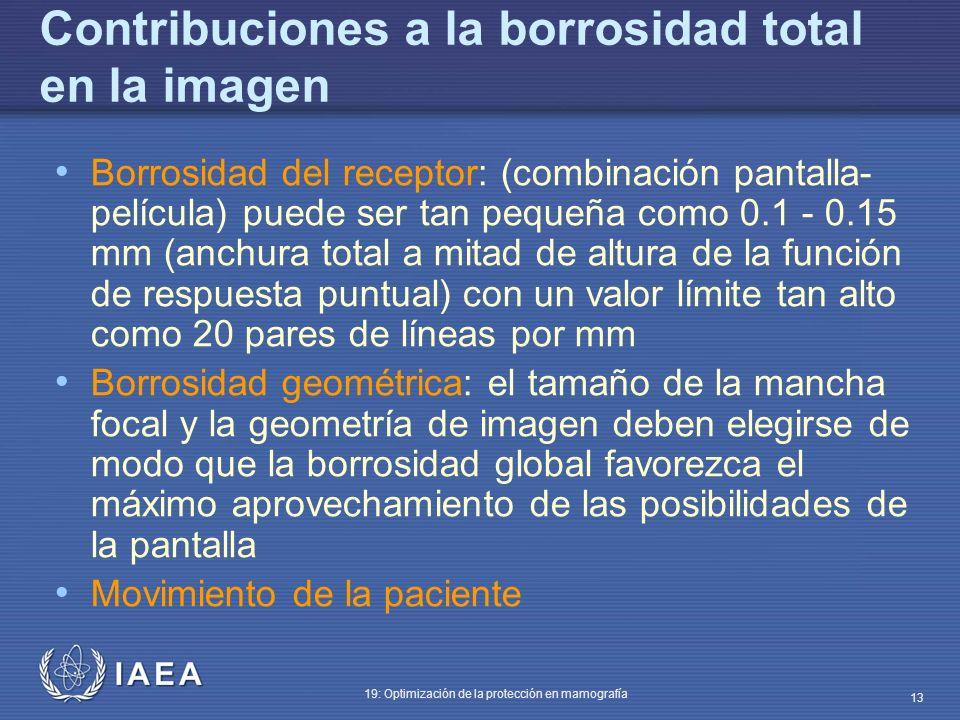 IAEA 19: Optimización de la protección en mamografía 13 Contribuciones a la borrosidad total en la imagen Borrosidad del receptor: (combinación pantal