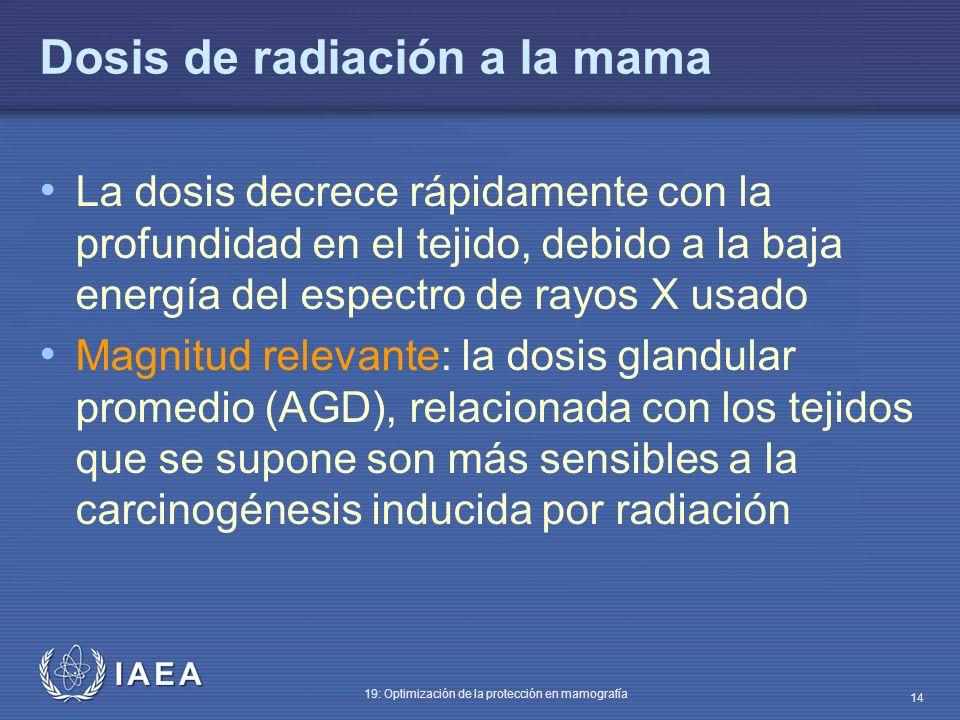 IAEA 19: Optimización de la protección en mamografía 14 Dosis de radiación a la mama La dosis decrece rápidamente con la profundidad en el tejido, deb