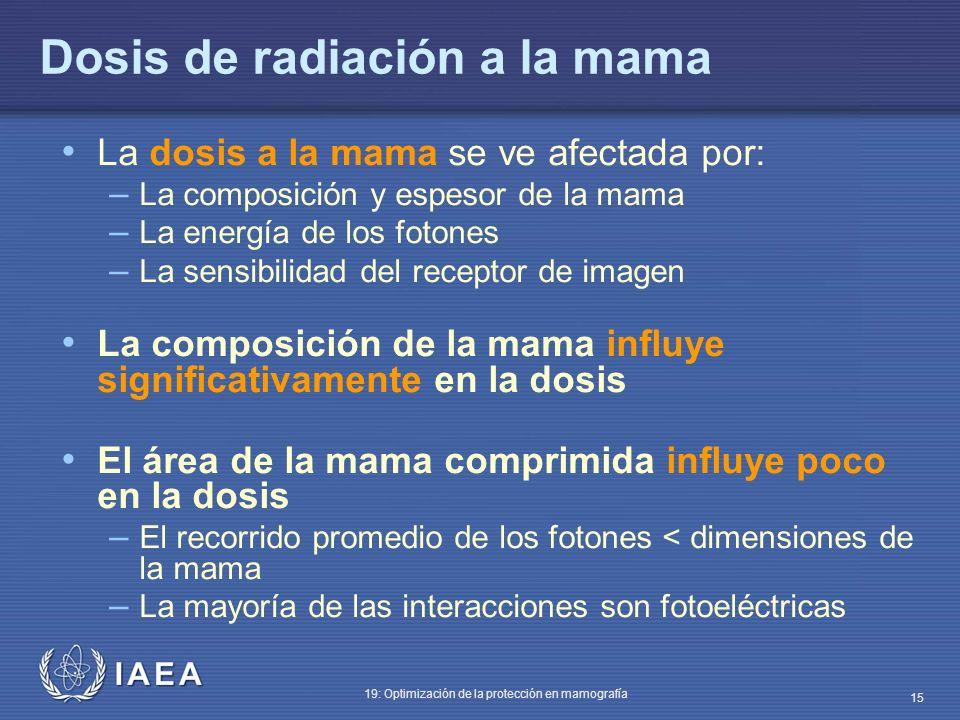 IAEA 19: Optimización de la protección en mamografía 15 Dosis de radiación a la mama La dosis a la mama se ve afectada por: – La composición y espesor