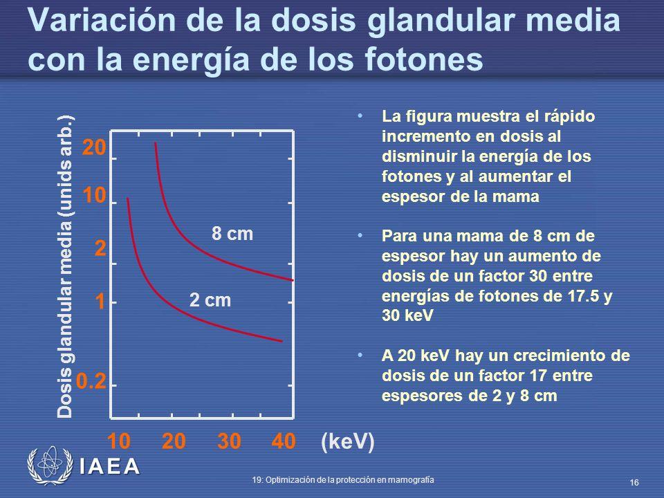 IAEA 19: Optimización de la protección en mamografía 16 Variación de la dosis glandular media con la energía de los fotones La figura muestra el rápid