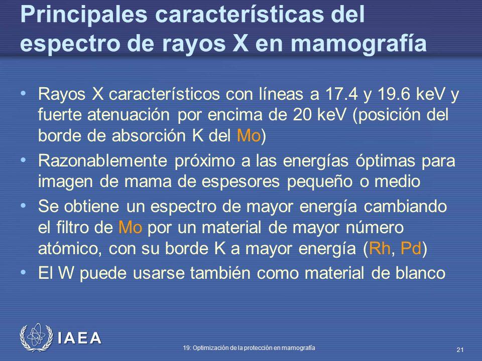 IAEA 19: Optimización de la protección en mamografía 21 Principales características del espectro de rayos X en mamografía Rayos X característicos con