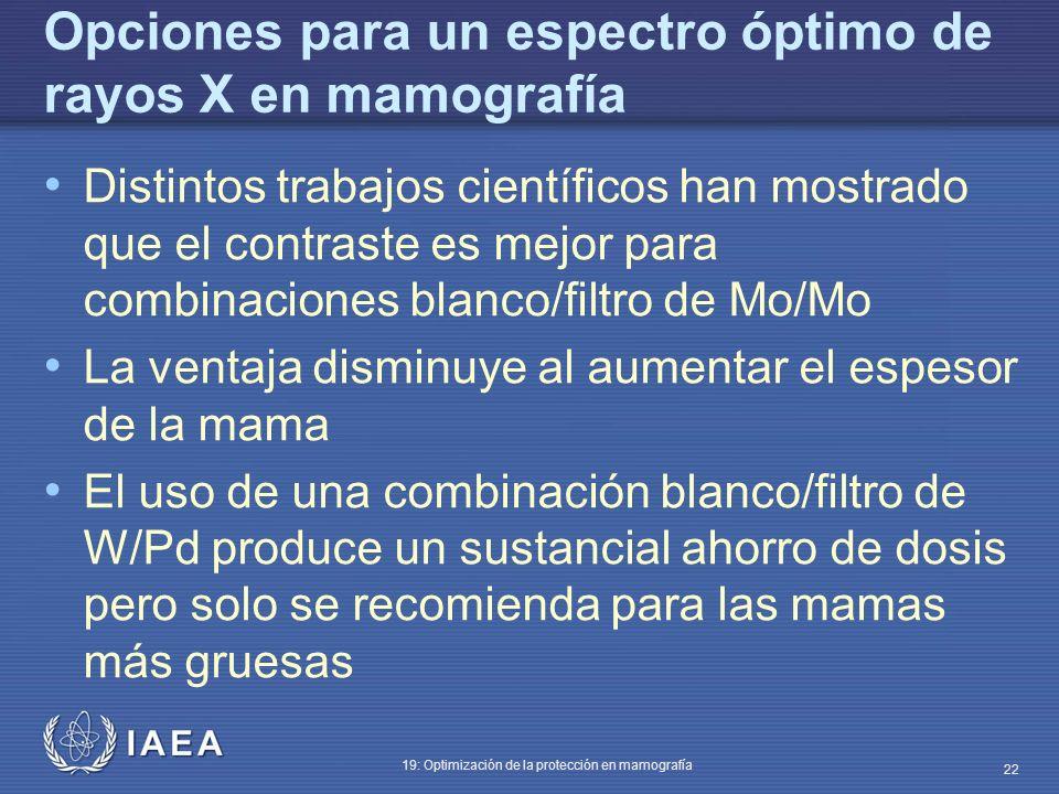 IAEA 19: Optimización de la protección en mamografía 22 Opciones para un espectro óptimo de rayos X en mamografía Distintos trabajos científicos han m