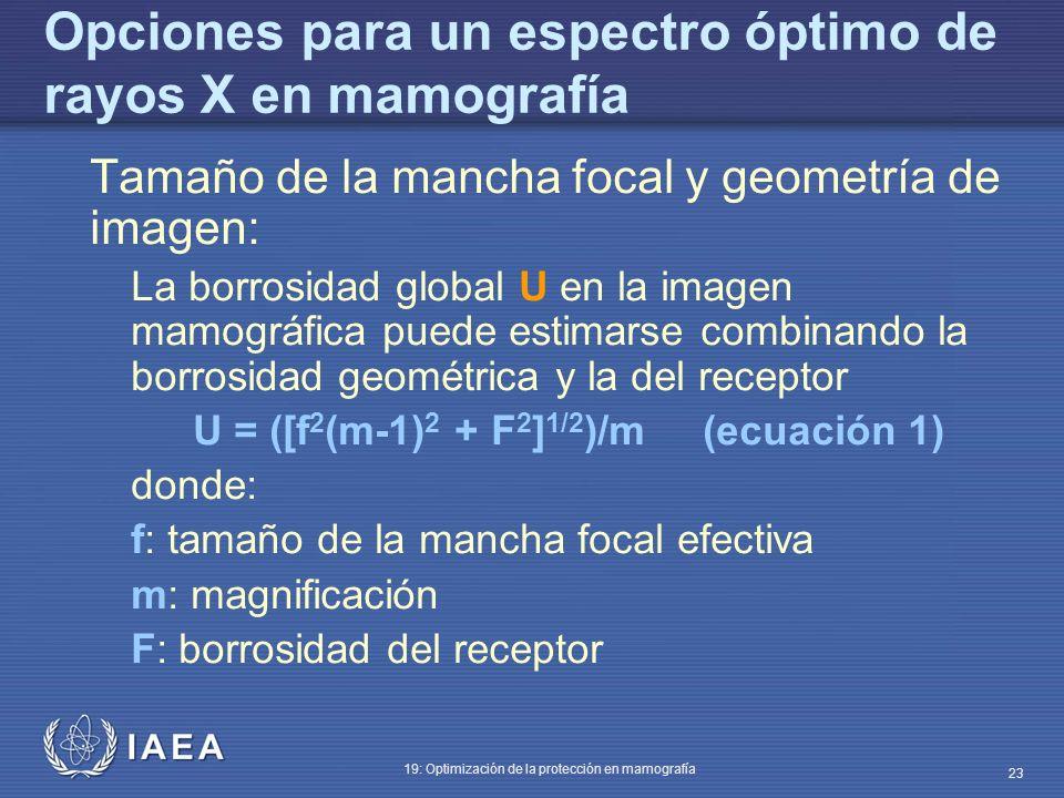 IAEA 19: Optimización de la protección en mamografía 23 Opciones para un espectro óptimo de rayos X en mamografía Tamaño de la mancha focal y geometrí