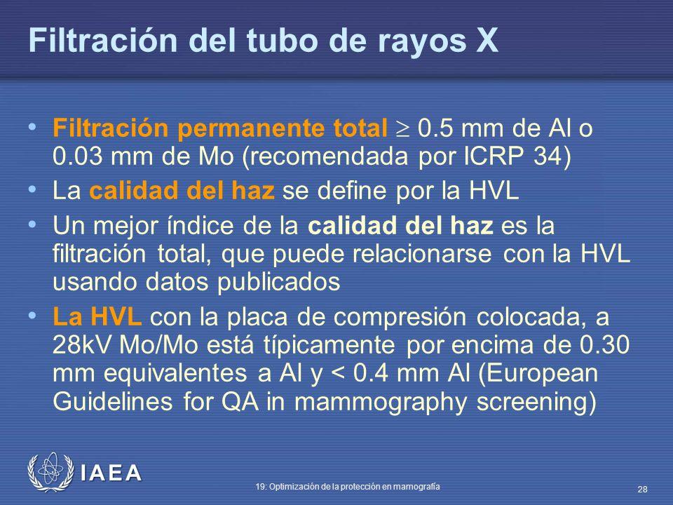 IAEA 19: Optimización de la protección en mamografía 28 Filtración del tubo de rayos X Filtración permanente total 0.5 mm de Al o 0.03 mm de Mo (recom