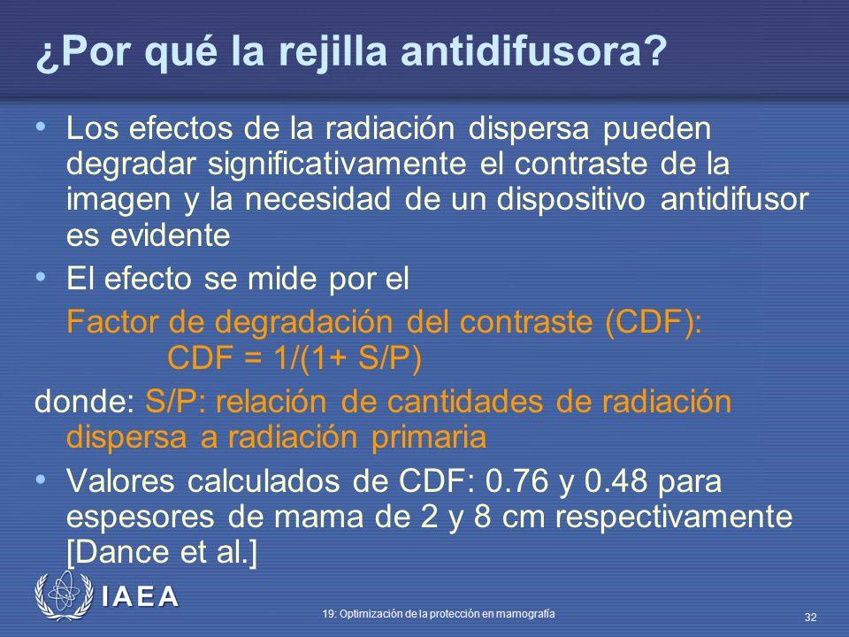 IAEA 19: Optimización de la protección en mamografía 32 ¿Por qué la rejilla antidifusora? Los efectos de la radiación dispersa pueden degradar signifi