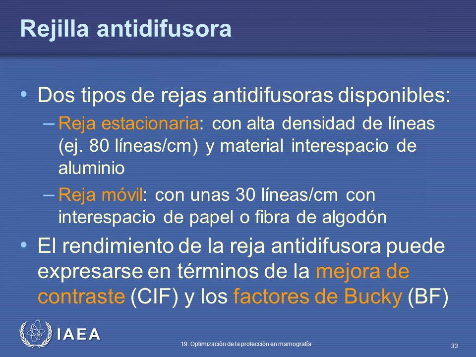 IAEA 19: Optimización de la protección en mamografía 33 Rejilla antidifusora Dos tipos de rejas antidifusoras disponibles: – Reja estacionaria: con al