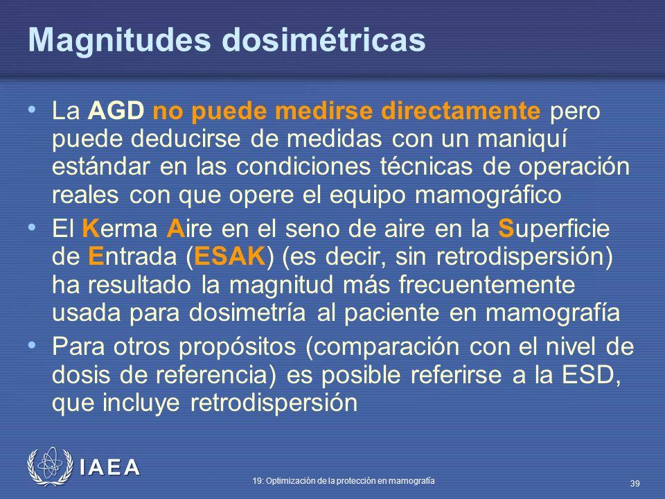 IAEA 19: Optimización de la protección en mamografía 39 Magnitudes dosimétricas La AGD no puede medirse directamente pero puede deducirse de medidas c