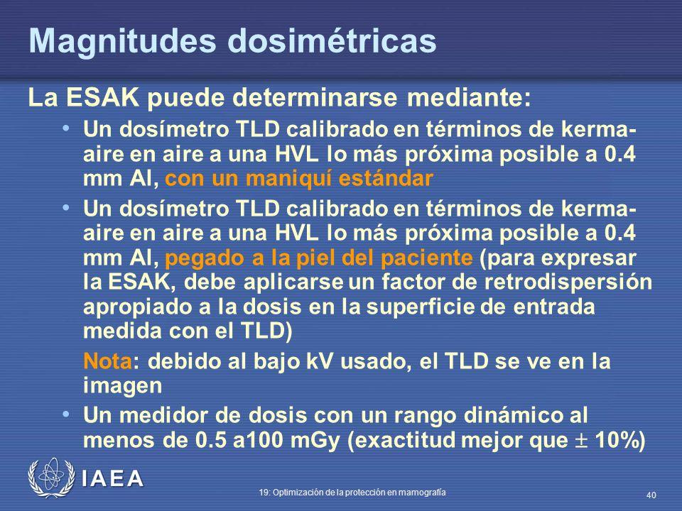 IAEA 19: Optimización de la protección en mamografía 40 Magnitudes dosimétricas La ESAK puede determinarse mediante: Un dosímetro TLD calibrado en tér