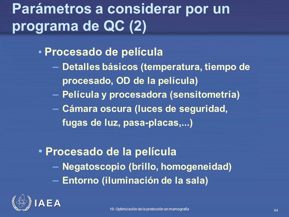 IAEA 19: Optimización de la protección en mamografía 44 Procesado de película – Detalles básicos (temperatura, tiempo de procesado, OD de la película)