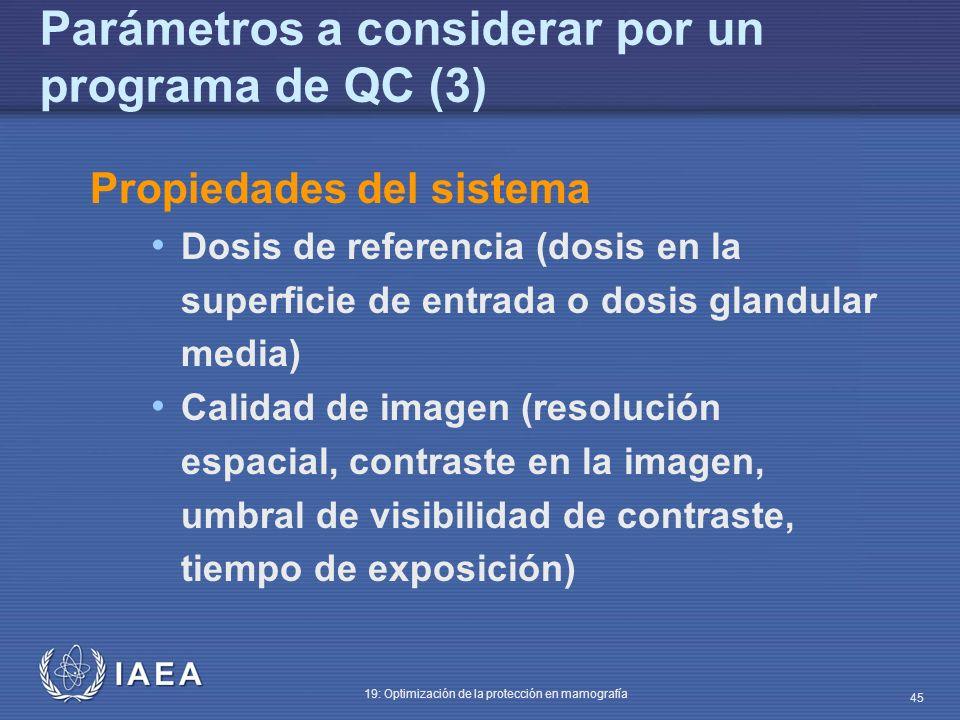 IAEA 19: Optimización de la protección en mamografía 45 Propiedades del sistema Dosis de referencia (dosis en la superficie de entrada o dosis glandul