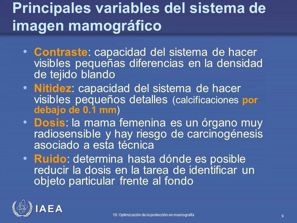 IAEA 19: Optimización de la protección en mamografía 9 Principales variables del sistema de imagen mamográfico Contraste: capacidad del sistema de hac