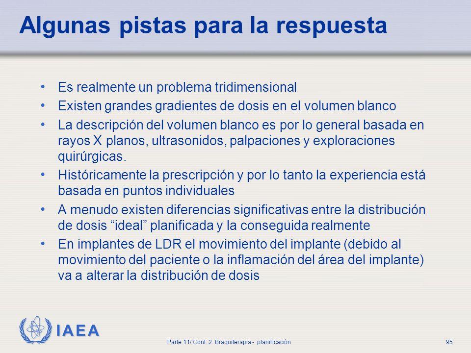 IAEA Parte 11/ Conf. 2. Braquiterapia - planificación95 Algunas pistas para la respuesta Es realmente un problema tridimensional Existen grandes gradi