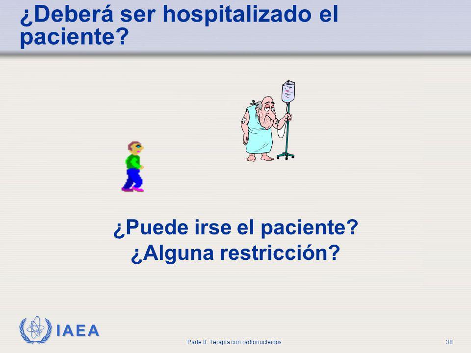 IAEA Parte 8.Terapia con radionucleidos38 ¿Deberá ser hospitalizado el paciente.