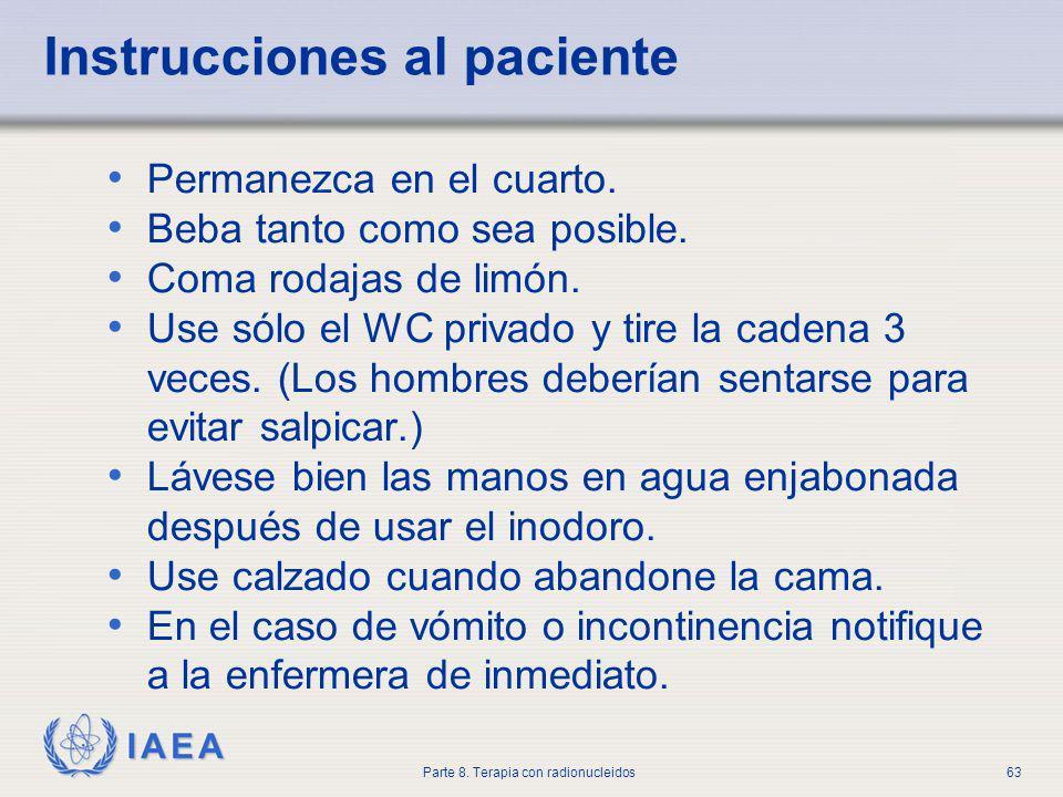 IAEA Parte 8.Terapia con radionucleidos63 Permanezca en el cuarto.