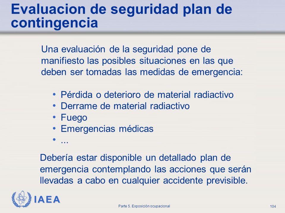 IAEA Parte 5. Exposición ocupacional 104 Evaluacion de seguridad plan de contingencia Una evaluación de la seguridad pone de manifiesto las posibles s
