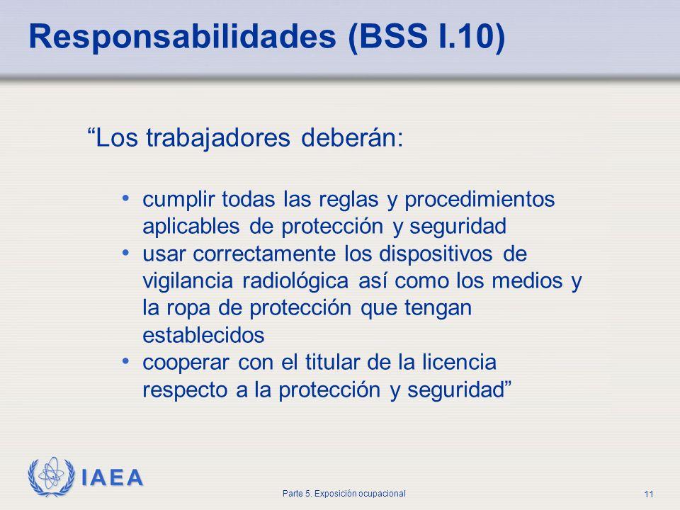IAEA Parte 5. Exposición ocupacional 11 Los trabajadores deberán: cumplir todas las reglas y procedimientos aplicables de protección y seguridad usar