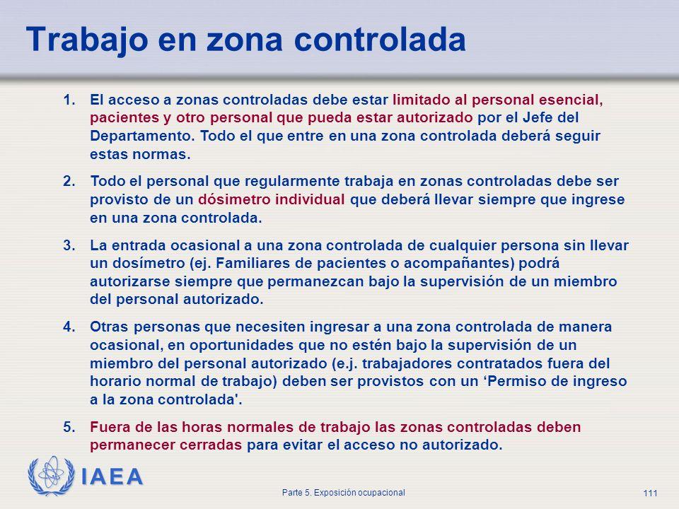 IAEA Parte 5. Exposición ocupacional 111 Trabajo en zona controlada 1.El acceso a zonas controladas debe estar limitado al personal esencial, paciente