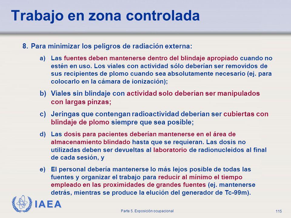 IAEA Parte 5. Exposición ocupacional 115 8.Para minimizar los peligros de radiación externa: a)Las fuentes deben mantenerse dentro del blindaje apropi