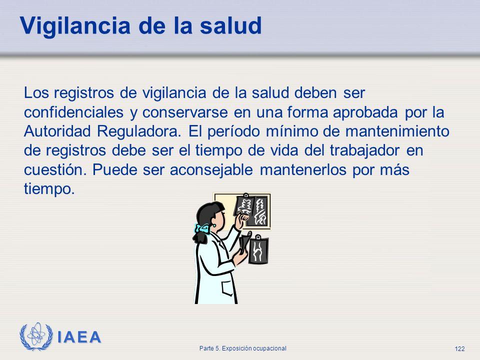 IAEA Parte 5. Exposición ocupacional 122 Vigilancia de la salud Los registros de vigilancia de la salud deben ser confidenciales y conservarse en una