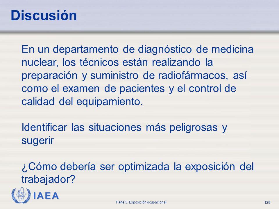 IAEA Parte 5. Exposición ocupacional 129 Discusión En un departamento de diagnóstico de medicina nuclear, los técnicos están realizando la preparación
