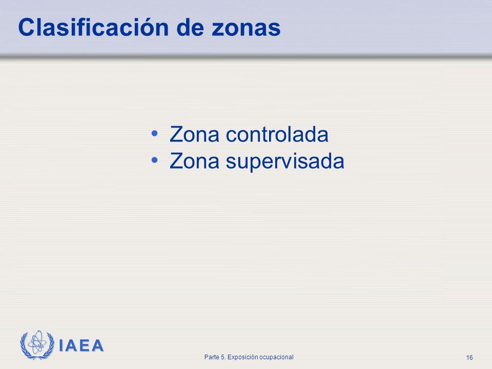 IAEA Parte 5. Exposición ocupacional 16 Clasificación de zonas Zona controlada Zona supervisada