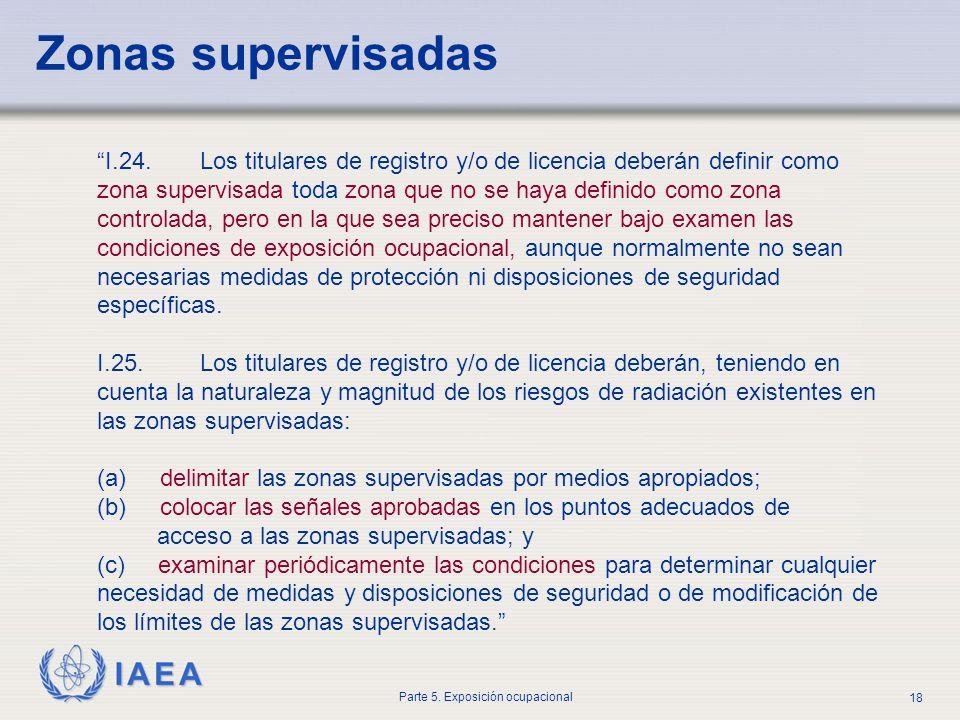 IAEA Parte 5. Exposición ocupacional 18 I.24. Los titulares de registro y/o de licencia deberán definir como zona supervisada toda zona que no se haya