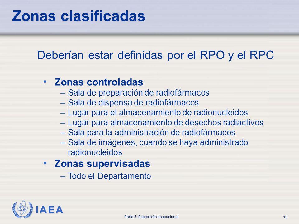 IAEA Parte 5. Exposición ocupacional 19 Zonas clasificadas Deberían estar definidas por el RPO y el RPC Zonas controladas – Sala de preparación de rad