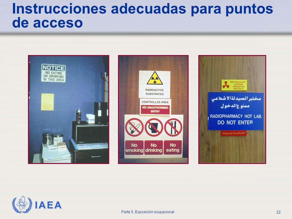 IAEA Parte 5. Exposición ocupacional 22 Instrucciones adecuadas para puntos de acceso