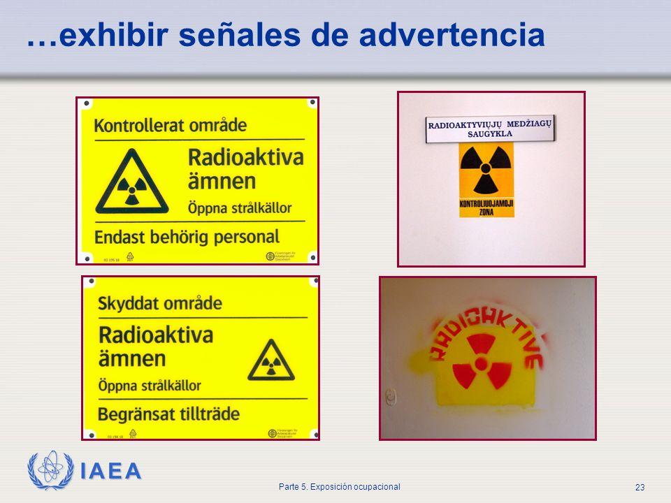 IAEA Parte 5. Exposición ocupacional 23 …exhibir señales de advertencia