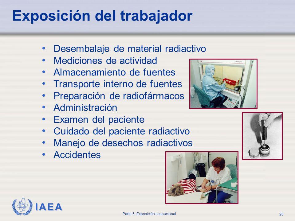 IAEA Parte 5. Exposición ocupacional 26 Desembalaje de material radiactivo Mediciones de actividad Almacenamiento de fuentes Transporte interno de fue
