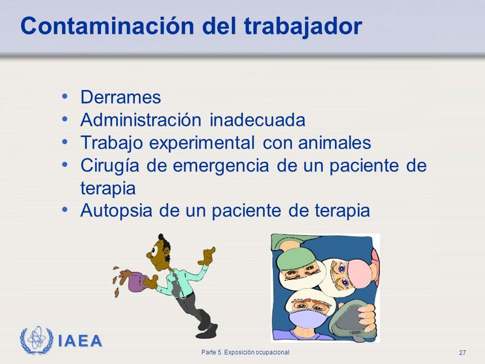 IAEA Parte 5. Exposición ocupacional 27 Derrames Administración inadecuada Trabajo experimental con animales Cirugía de emergencia de un paciente de t