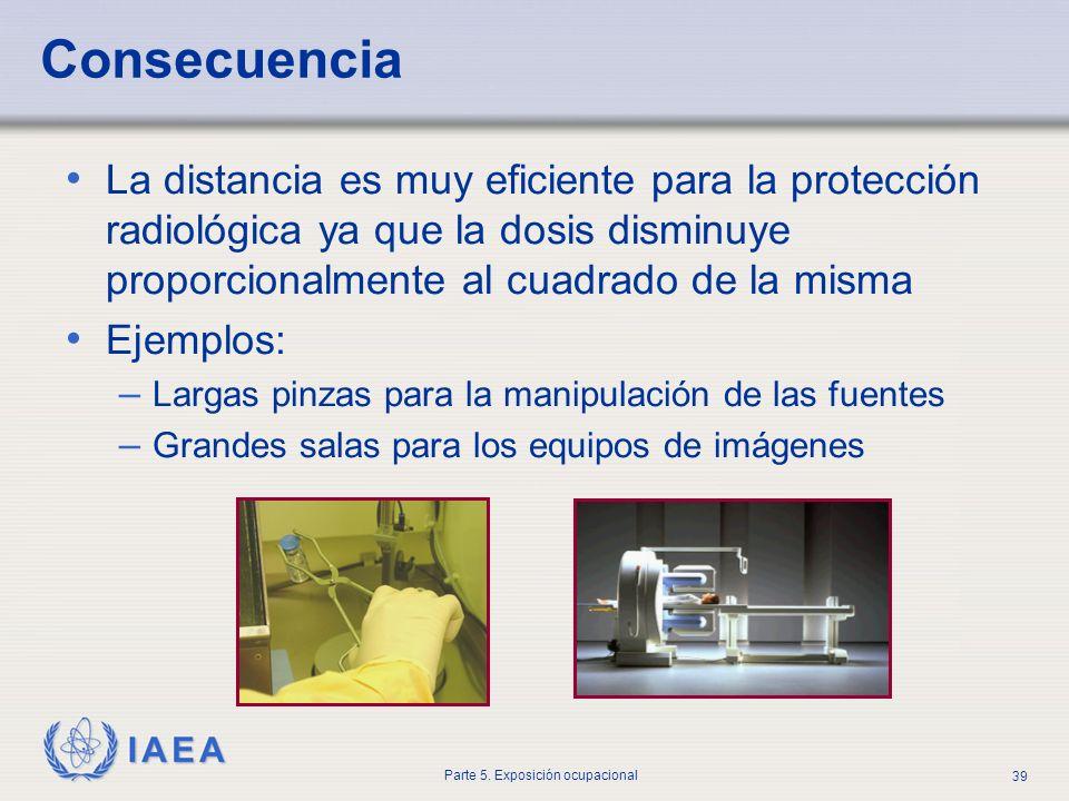 IAEA Parte 5. Exposición ocupacional 39 Consecuencia La distancia es muy eficiente para la protección radiológica ya que la dosis disminuye proporcion