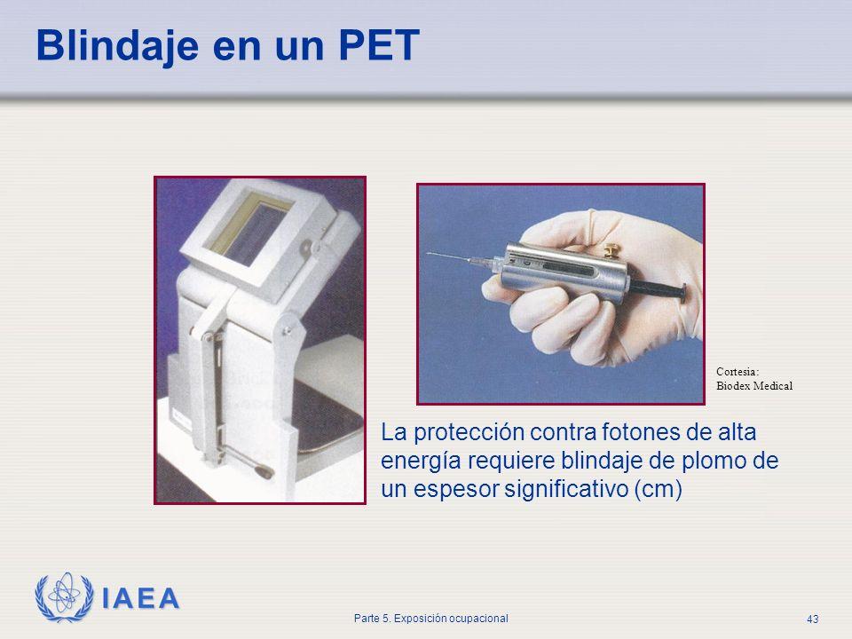 IAEA Parte 5. Exposición ocupacional 43 Blindaje en un PET Cortesia: Biodex Medical La protección contra fotones de alta energía requiere blindaje de