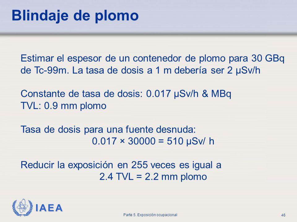 IAEA Parte 5. Exposición ocupacional 46 Estimar el espesor de un contenedor de plomo para 30 GBq de Tc-99m. La tasa de dosis a 1 m debería ser 2 μSv/h