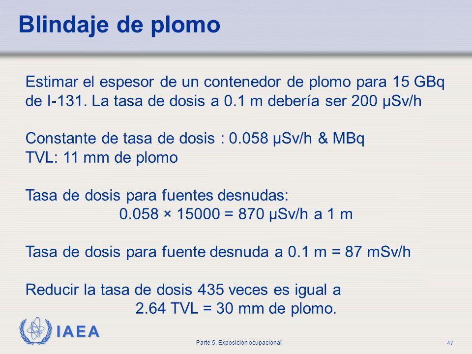 IAEA Parte 5. Exposición ocupacional 47 Estimar el espesor de un contenedor de plomo para 15 GBq de I-131. La tasa de dosis a 0.1 m debería ser 200 μS