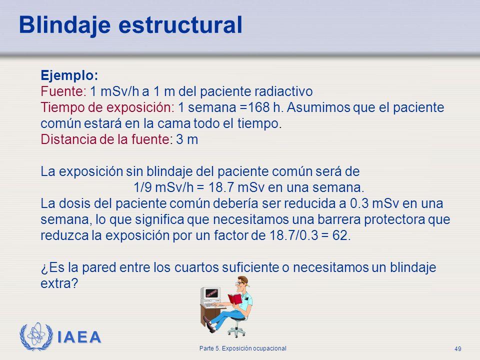 IAEA Parte 5. Exposición ocupacional 49 Blindaje estructural Ejemplo: Fuente: 1 mSv/h a 1 m del paciente radiactivo Tiempo de exposición: 1 semana =16