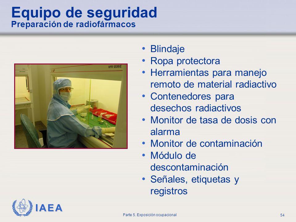 IAEA Parte 5. Exposición ocupacional 54 Blindaje Ropa protectora Herramientas para manejo remoto de material radiactivo Contenedores para desechos rad