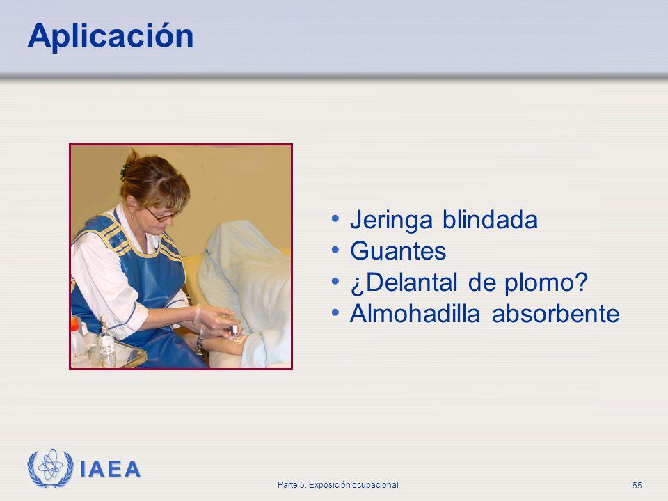 IAEA Parte 5. Exposición ocupacional 55 Aplicación Jeringa blindada Guantes ¿Delantal de plomo? Almohadilla absorbente