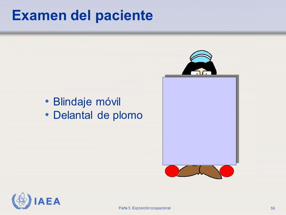 IAEA Parte 5. Exposición ocupacional 59 Examen del paciente Blindaje móvil Delantal de plomo