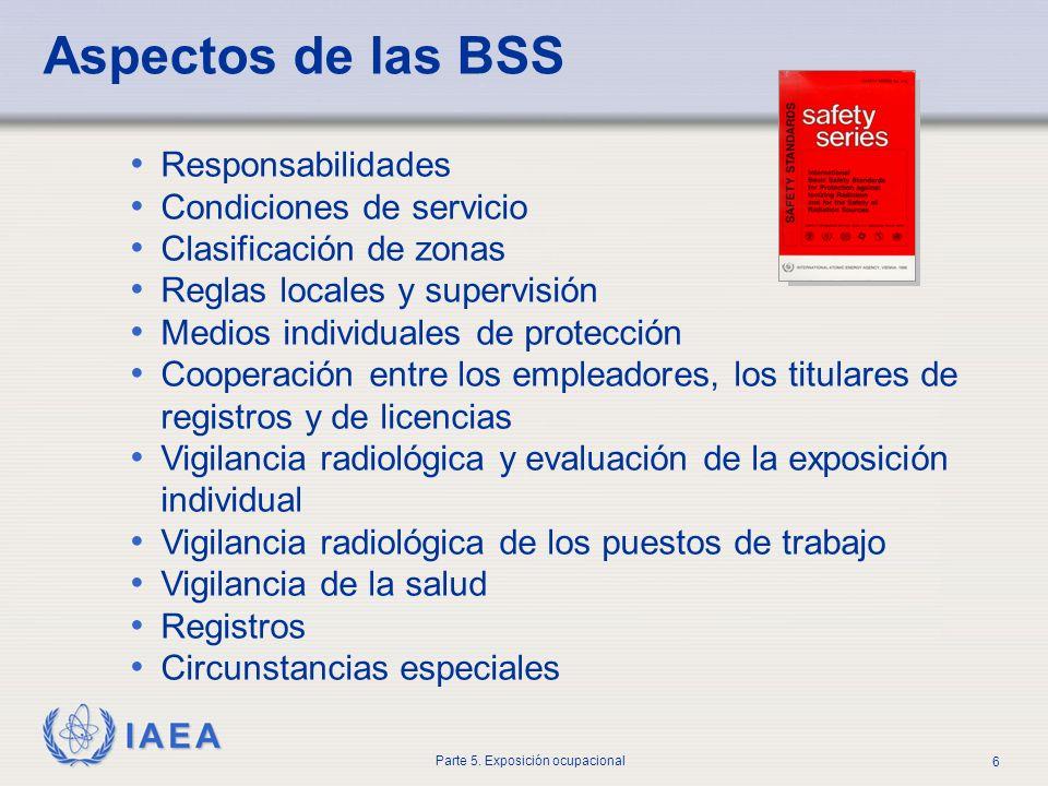 IAEA Parte 5. Exposición ocupacional 6 Aspectos de las BSS Responsabilidades Condiciones de servicio Clasificación de zonas Reglas locales y supervisi