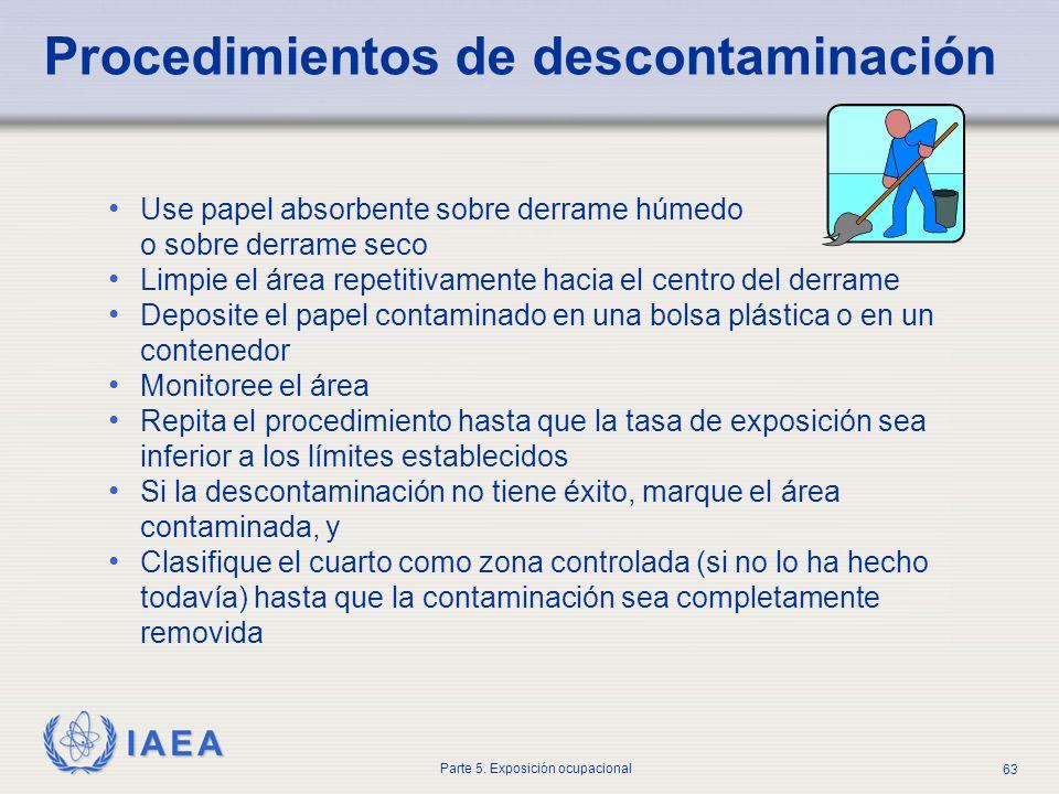 IAEA Parte 5. Exposición ocupacional 63 Procedimientos de descontaminación Use papel absorbente sobre derrame húmedo o sobre derrame seco Limpie el ár