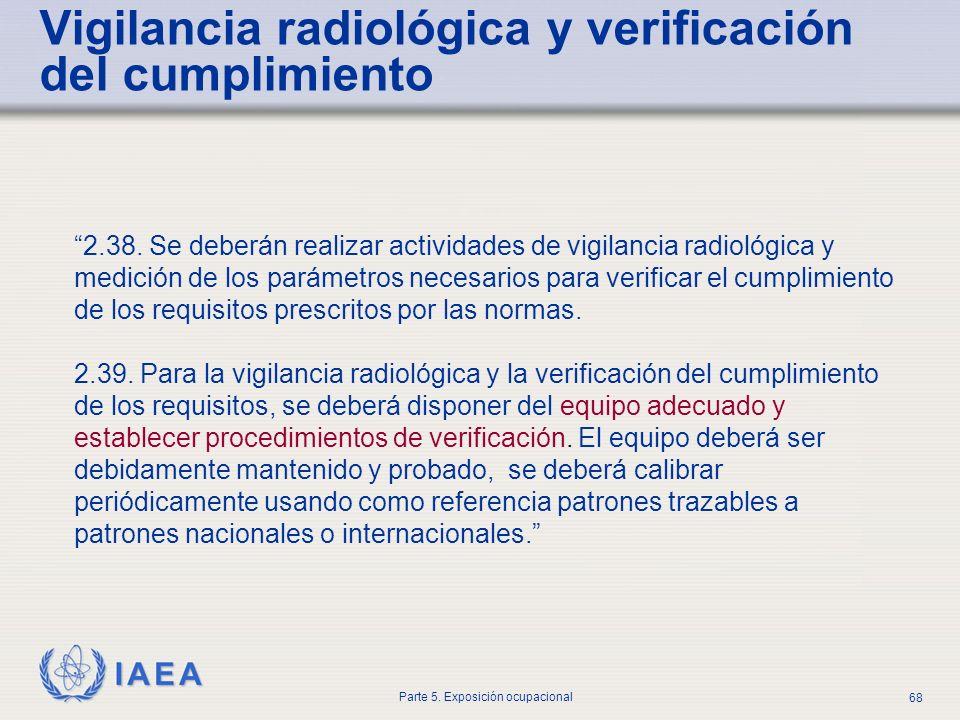IAEA Parte 5. Exposición ocupacional 68 Vigilancia radiológica y verificación del cumplimiento 2.38. Se deberán realizar actividades de vigilancia rad