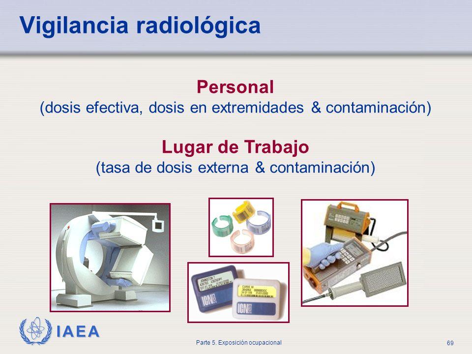 IAEA Parte 5. Exposición ocupacional 69 Personal (dosis efectiva, dosis en extremidades & contaminación) Lugar de Trabajo (tasa de dosis externa & con